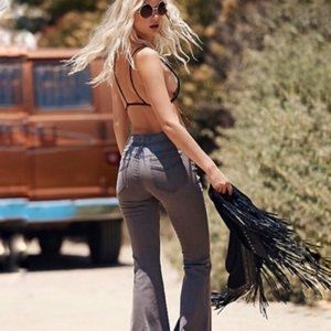 Free People Grey Pull On Flare Jeans